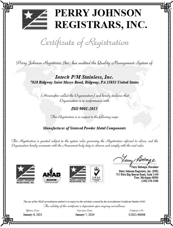 Certified 9001-2015 ISO